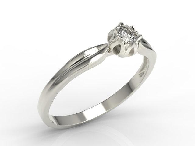 Pierścionek Zaręczynowy W Kształcie Konwalii Ap 4010b Z Białego