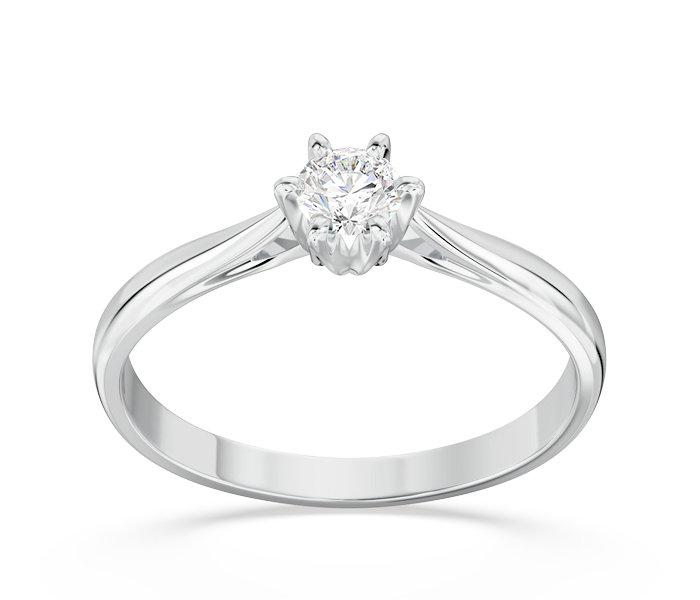 Pierścionek Zaręczynowy Z Białego Złota Z Brylantem Ap 6618b