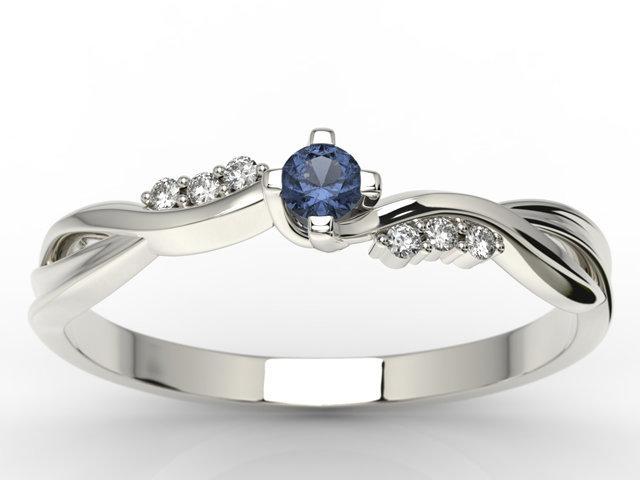 Pierścionek Zaręczynowy Z Białego Złota Z Szafirem I Diamentami 003