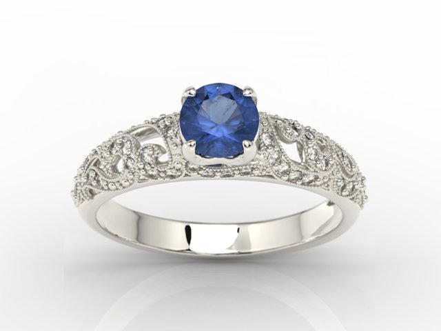 Pierścionek Zaręczynowy Z Białego Złota Z Szafirem I Diamentami Bp