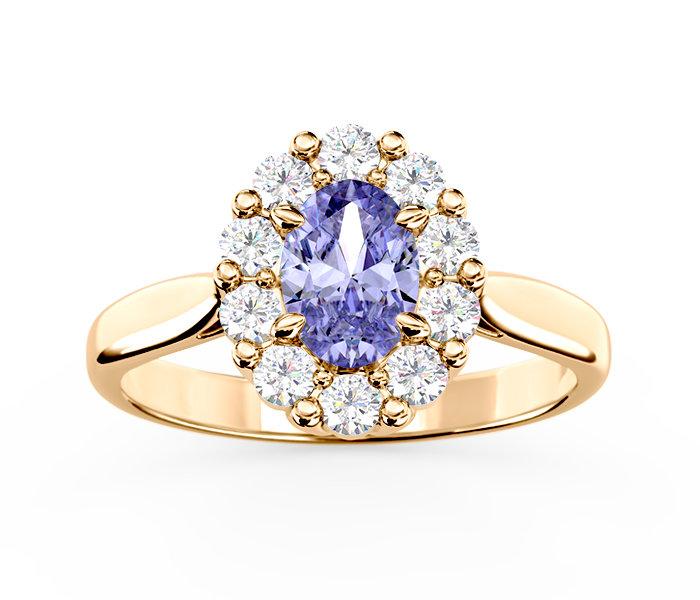 Pierścionek Zaręczynowy Z Tanzanitem I Diamentami Bp 57z Biżuteria
