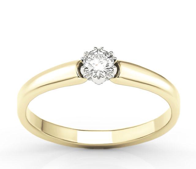 Pierścionek Zaręczynowy Z żółtego I Białego Złota Z Brylantem 020