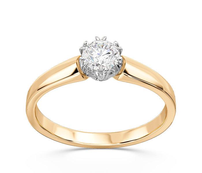 Pierścionek Zaręczynowy Z żółtego I Białego Złota Z Brylantem Bp