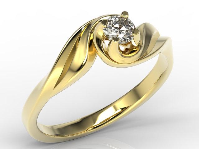 Pierścionek Zaręczynowy Z żółtego Złota Z Diamentem Ap 7420z