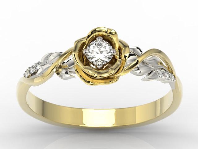 Pierścionek Złoty W Kształcie Róży Z Brylantami Lp 7715zb