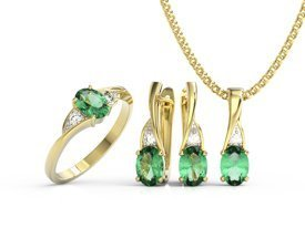 Diamonds & emeraldes set - ring, earrings & pendant. 14ct yellow gold model AP-60Z-R-ZEST