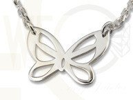 Silver necklace celebrity with butterfly WEC-S-MOTYL