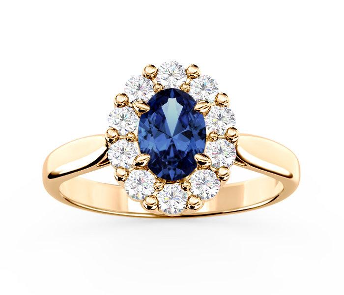 Masywnie Pierścionek zaręczynowy z szafirem i diamentami BP-57Z   Biżuteria YX54