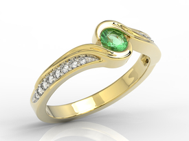 0,14ct diamond emerald 14ct yellow gold BP-28Z-R