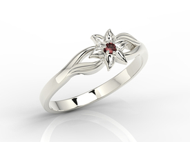14 ct white gold ring with garnet BP-14B