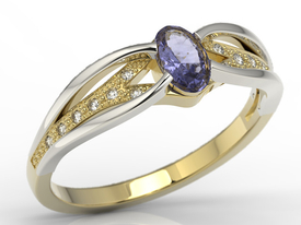 14 ct white & yellow gold ring, tanzanite & cubic zirconias LP-39ZB-C
