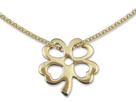 14ct gold necklace with a clover motif - model 25