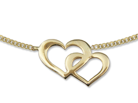 14ct gold necklace with double hearts motif - model 19