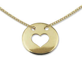 14ct gold necklace with heart in weel motif - model 8