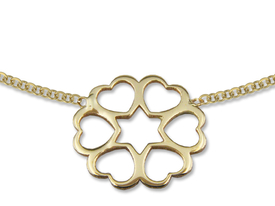 14ct gold necklace with openwork flower motif - model 18