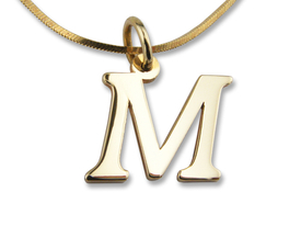 "14ct gold pendant lettre - form 1 ""M"" ""W"""