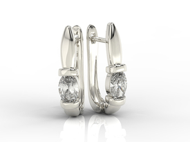 14ct white gold earrings with cubic zirconias APK-67B-C
