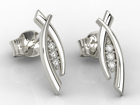 14ct white gold earrings with cubic zirconias APK-83B-C