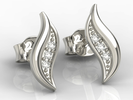 14ct white gold earrings with cubic zirconias APK-85B-C