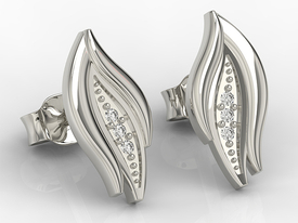 14ct white gold earrings with cubic zirconias APK-86B-C
