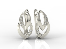 14ct white gold earrings with cubic zirconias BP-60B-C