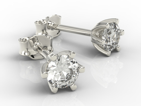14ct white gold earrings with cubic zirconias LPK-8054B-C