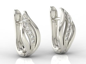 14ct white gold earrings with zirconias BPK-30B-C