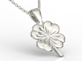 14ct white gold pendant in the shape of a clover BP-19B
