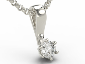 14ct white gold pendant with cubic zirconia LPW-8027B-C