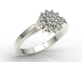 14ct white gold ring with cubic zirconias AP-34B-C