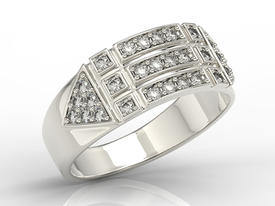 14ct white gold ring with cubic zirconias BP-31Z-R-C