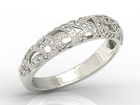 14ct white gold ring with cubic zirconias BP-51B-C