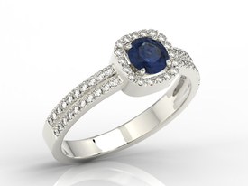 14ct white gold ring with sapphire & cubic zirconias  BP-52B-C