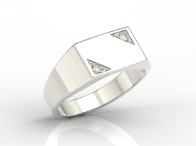 14ct white gold signet with two diamonds SJ-26B-D