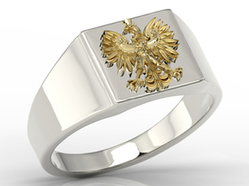 14ct  white & yellow gold signet with an eagle SJ-24BZ