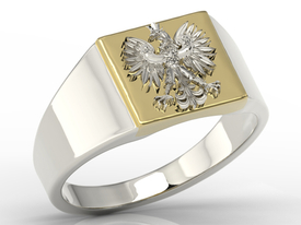 14ct  white & yellow gold signet with an eagle SJ-24BZB