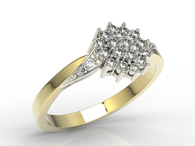 14ct yellow and white gold ring with cubic zirconias AP-34ZB-C