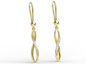 14ct yellow gold earrings with cubic zirconias APK-73Z-R-C