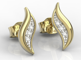 14ct yellow gold earrings with cubic zirconias APK-85Z-R-C