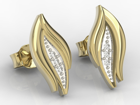 14ct yellow gold earrings with cubic zirconias APK-86Z-R-C