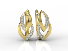 14ct yellow gold earrings with cubic zirconias BP-60Z-R-C
