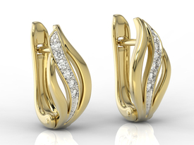 14ct yellow gold earrings with zirconias BPK-30Z-R-C