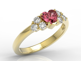 14ct yellow gold ring with Swarovski red topaz & cubic zirconias BP-54Z-C
