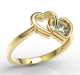 14ct yellow gold ring with cubic zirconia LP-52Z-C
