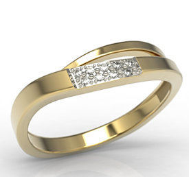 14ct yellow gold ring with cubic zirconias LP-97Z-R-C