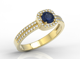 14ct yellow gold ring with sapphire & cubic zirconias  BP-52Z-C