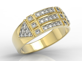 14ct yellow gold ring with zirconias BP-31Z-R-C