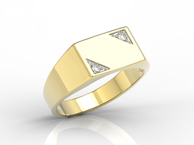 14ct yellow gold signet with two diamonds SJ-26Z-D