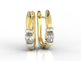 14ct yellow & white gold earrings with cubic zirconias APK-67ZB-C