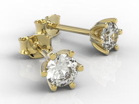 14ct yellow & white gold earrings with cubic zirconias LPK-8054Z-C